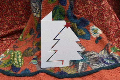 White Christmas tree card.