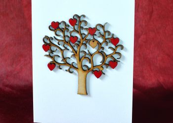 Key To My Heart wooden tree Valentine's card.