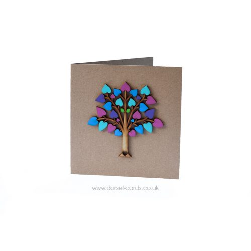 Wooden Tree of Life card in springtime colours.