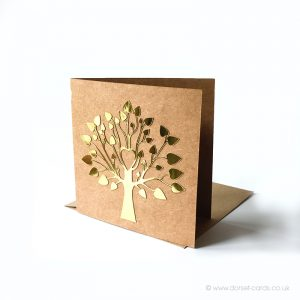 Tree of Life in gold, blank greetings card in gold colour.