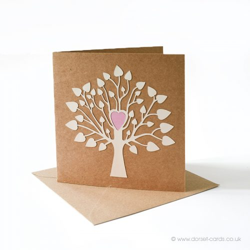 Tree of Life in cream, blank greetings card with a pink heart. Handmade.